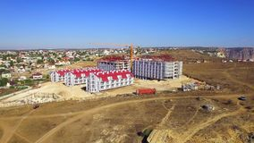 AERIAL VIEW. New Tourist Complex Construction On Fiolent Cape In Crimea stock video