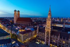 Aerial view of The New Town Hall and Marienplatz at night, Munic. Aerial view of New Town Hall and Marienplatz at night Munich city, Bavaria, Germany Royalty Free Stock Images