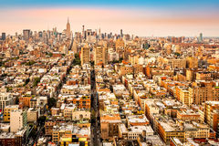 Aerial view of New York City avenues converging towards midtown Royalty Free Stock Photography