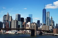 Aerial view of New York City Downtown Skyline with Brooklyn Bridge Stock Photos