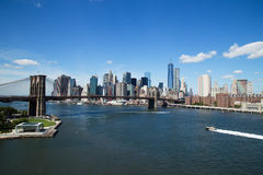 Aerial view of New York City Downtown Skyline with Brooklyn Bridge Stock Photography