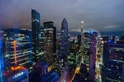 Aerial view of New York City. Manhattan midtown skyline at night Royalty Free Stock Image