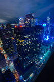 Aerial view of New York City. Manhattan midtown skyline at night Royalty Free Stock Images