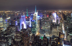 Aerial view of New York City at night Royalty Free Stock Image