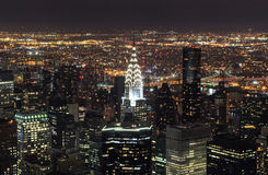 Aerial view of New York City at night royalty free stock photography