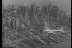 Aerial view Of New York City in the 1940s stock video