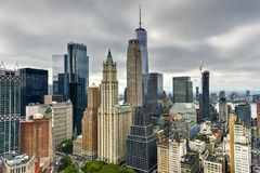 New York City Downtown Skyline. Aerial view of the New York City Skyline in downtown Manhattan in the Financial District Royalty Free Stock Images