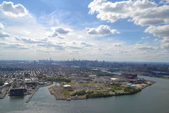 Aerial View of New York City Skyline from the Hudson River on a Beautiful Day Royalty Free Stock Photo