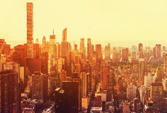 Aerial view of the New York City skyline. Near Midtown at sunset Stock Photo