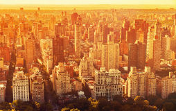 Aerial view of the New York City skyline. Near Midtown at sunset Stock Image