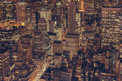 Aerial view of New York City skyline at night