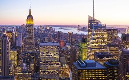 Aerial view of New York city at Sunset Royalty Free Stock Photos