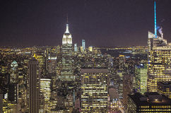 Aerial View of New York At Night. HDR Image Royalty Free Stock Photo