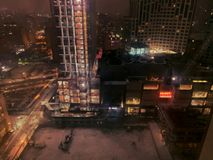 View of new York city - image. An aerial view of New York Street at night. blurry picture royalty free stock photos