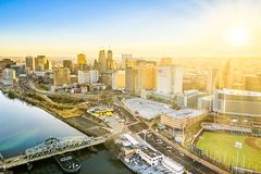 Aerial view of Newark New Jersey skyline stock image