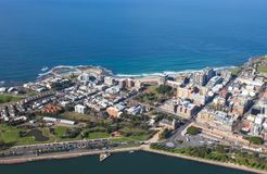 Aerial view of Newcastle CBD and Newcastle beach. royalty free stock photo
