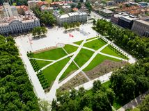 Aerial view of newly renovated Lukiskes square, Vilnius. Landscape of UNESCO-inscribed Old Town of Vilnius, the heartland of the c Royalty Free Stock Photography