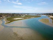 Aerial view of Newport Beach Back Bay in Orange County California. Aerial view of Newport Beach Back Bay wetlands in Orange County southern California Stock Photo
