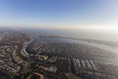 Aerial Newport Beach Harbor Pacific Coast. Aerial view of Newport Beach and harbor on the pacific coast in Southern California stock images