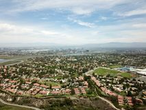 Aerial view of Newport Beach with mountains in the background. In Orange County Southern California Stock Images
