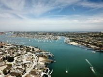 Aerial view of Newport Beach and the ocean. Showing homes and boats Stock Photography