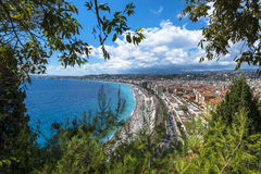 Aerial view of Nice coast Stock Images