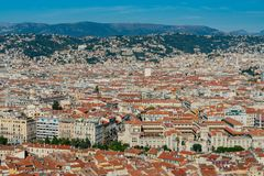 Aerial view of the Nice downtown cityscape from Castle Hill. At France stock photography