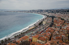 Aerial view of Nice, France. City center aerial view of Nice, France. Azure coast, English promenade and mediterranean sea at the left half Royalty Free Stock Images