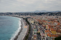 Aerial view of Nice, France. City center aerial view of Nice, France. Azure coast, English promenade and mediterranean sea at the left side Royalty Free Stock Photography