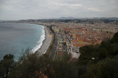 Aerial view of Nice, France. City center aerial view of Nice, France. Azure coast, English promenade and mediterranean sea at the left side, trees crone at the Stock Images