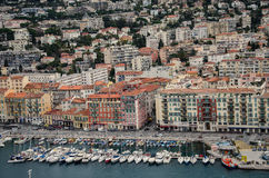 Aerial view of Nice, France. City center aerial view of Nice, France. Marina at the bottom Royalty Free Stock Images