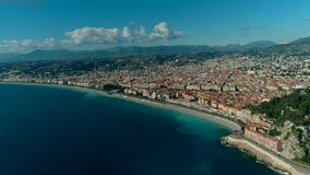 Aerial view of Nice France city and Mediterranean Sea. 4K stock video