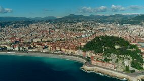 Aerial view of Nice France city and Mediterranean Sea. 4K stock video footage