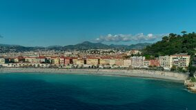 Aerial view of Nice France promenade and Mediterranean Sea. 4K stock footage