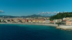 Aerial view of Nice France promenade and Mediterranean Sea. 4K stock video footage