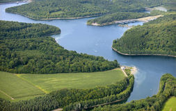 Aerial View : Nice lake in the countryside. (Eau d'Heure Royalty Free Stock Images