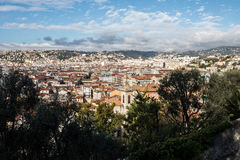 Aerial view of Nice old town from Colline du Chateau Stock Images
