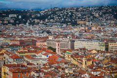 Aerial view of Nice old town from Colline du Chateau Royalty Free Stock Images