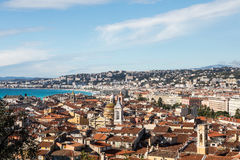 Aerial view of Nice old town from Colline du Chateau. Stock Images
