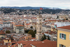 Aerial view of Nice old town from Colline du Chateau Royalty Free Stock Image
