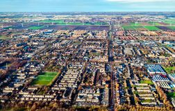 Aerial view of Nieuw-Vennep town in the Netherlands. Europe stock image