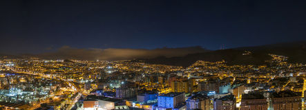 Aerial view of night city. Santa Cruz de Tenerife Stock Photos