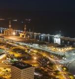 Aerial view of night city. Santa Cruz de Tenerife Royalty Free Stock Images