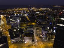 Aerial view of night city Tallinn royalty free stock image