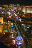 Aerial view at night from Eiffel Tower of Las Vegas Strip and neon lights, Las Vegas, NV Stock Images