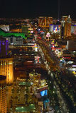 Aerial view at night from Eiffel Tower of Las Vegas Strip and neon lights, Las Vegas, NV Royalty Free Stock Photo