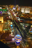 Aerial view at night from Eiffel Tower of Las Vegas Strip and neon lights, Las Vegas, NV Royalty Free Stock Photos