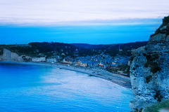 Aerial view of night Etretat, Normandy, France Stock Image