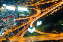 Aerial view night lights over highway interchanged royalty free stock photos