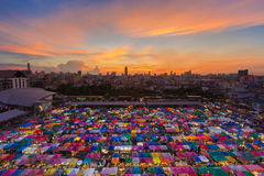 Aerial view of night market with beautiful sky after sunset Royalty Free Stock Image